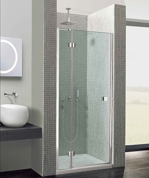 Simpsons Design Semi-Frameless Hinged Door With Inline Panel 760mm