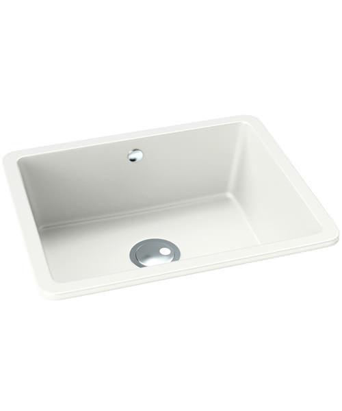Abode Matrix SQ GR15 White Granite Large Main Bowl Kitchen Sink