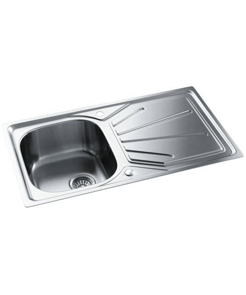 Abode Trydent Stainless Steel Single Kitchen Bowl And Drainer Inset Sink