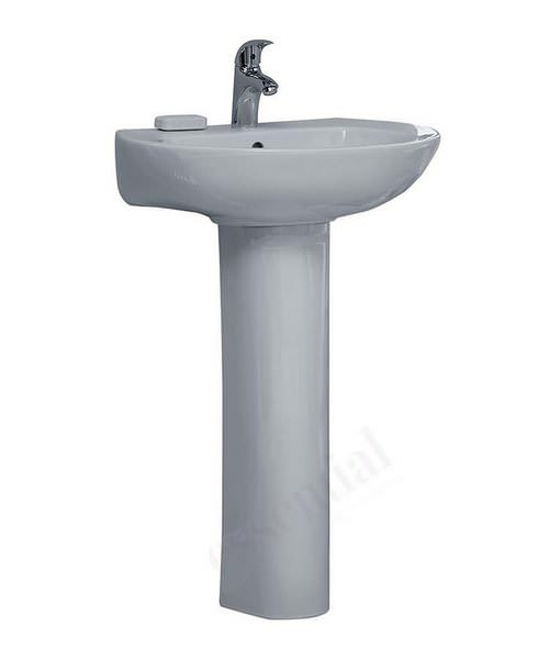 Essential Ocean 560mm Single Tap Hole Bathroom Sink And Full Pedestal White