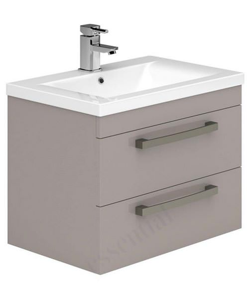 Essential Nevada 800mm 2 Drawers Wall Hung Vanity Unit And Basin Cashmere