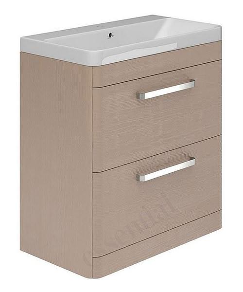 Essential vermont 800mm light grey 2 drawer vanity unit for Kitchen cabinets 800mm