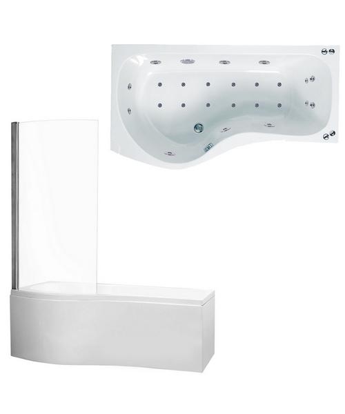 Phoenix Capri System 1 Left Hand Whirlpool Bath With Panel And Screen