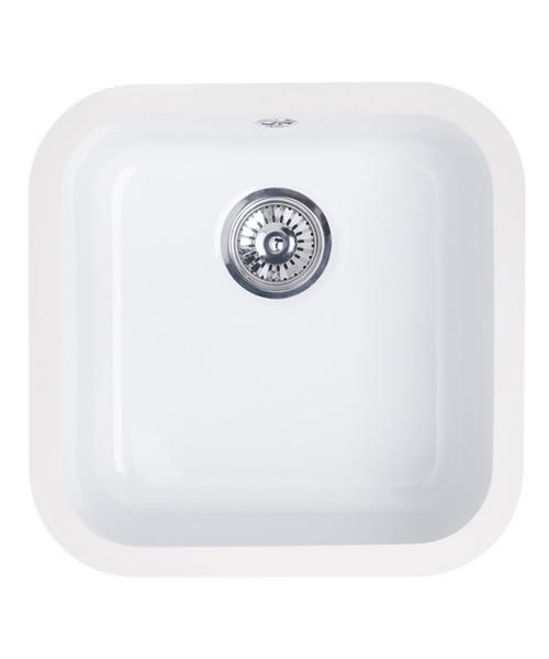 Astracast Lincoln 4040 Gloss White Ceramic Undermount Sink - Main Bowl