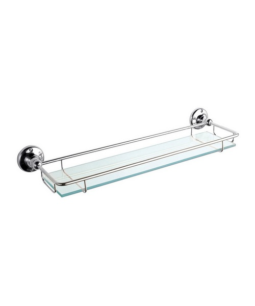 Hudson Reed Traditional Glass Gallery Shelf With Chrome Holder