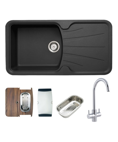 Astracast Korona Composite ROK Metallic Inset Sink And Tap Pack - 1.0 Bowl