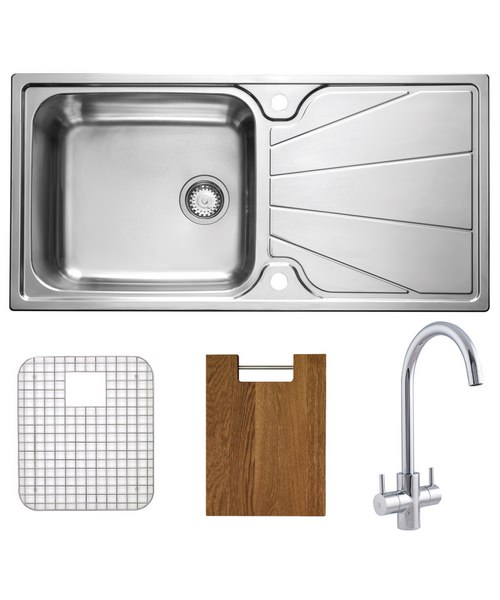 Astracast Korona Polished Stainless Steel Inset Sink And Tap Pack - 1.0B