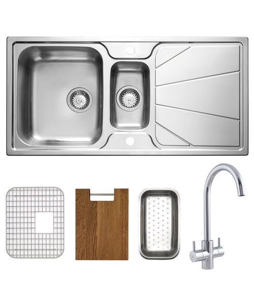 Astracast Korona Polished Stainless Steel Inset Sink And Tap Pack - 1.5B