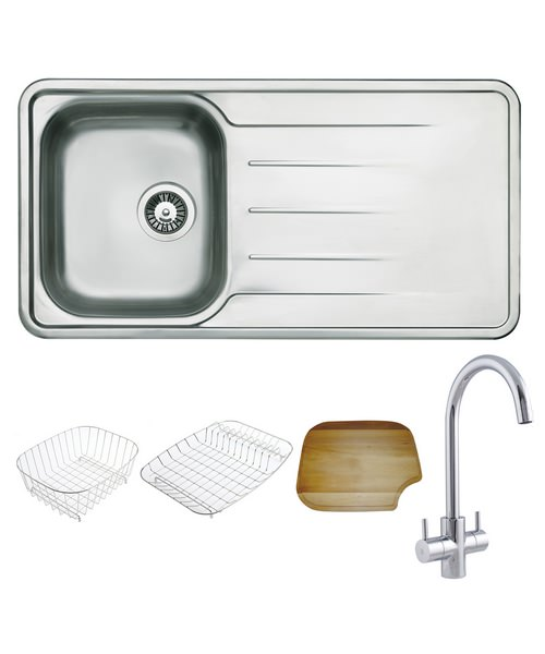 Astracast Topaz Polished Stainless Steel Inset Sink And Tap Pack - 1.0B