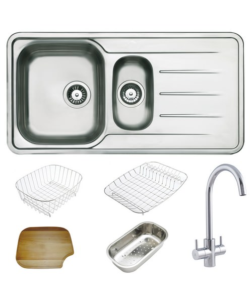 Astracast Topaz Polished Stainless Steel Inset Sink And Tap Pack - 1.5B