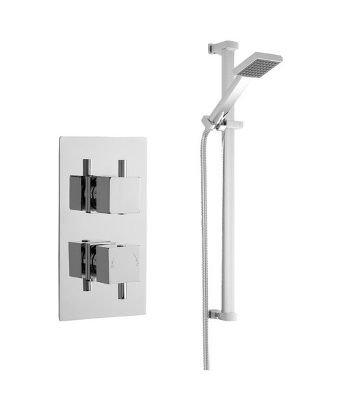 Nuie Premier Bundle - 2 - Twin Thermostatic Valve And Rectangular Slide Rail Kit