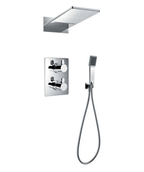 Flova Essence Thermostatic Valve With Diverter-Dual Overhead Shower And Kit