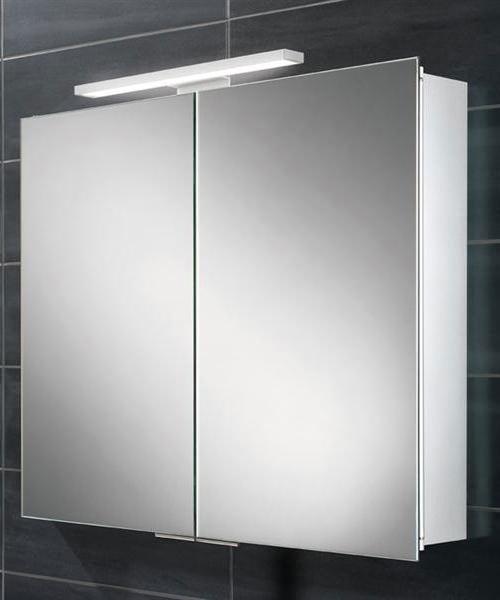 HIB Neutron 600 x 700-730mm Double Door LED Overlight Mirror Cabinet