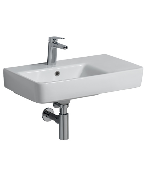 Twyford E200 650 x 370mm 1 Tap Hole Washbasin With Right Hand Shelf