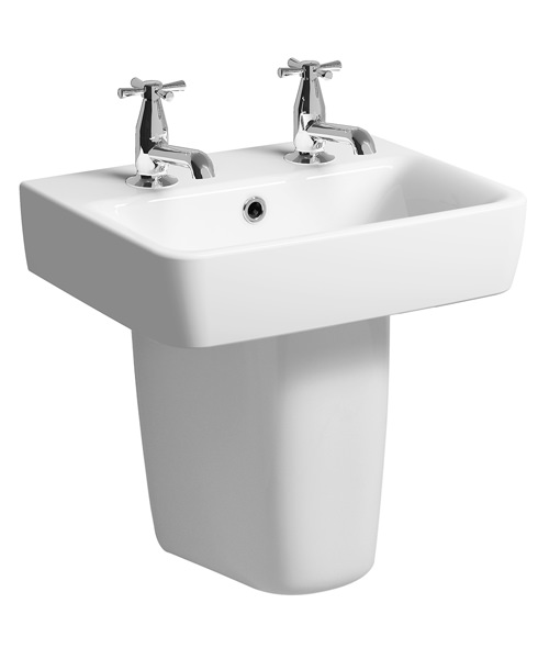 Twyford E200 450 x 340mm 2 Tap Hole Handrinse Basin With Semi Pedestal