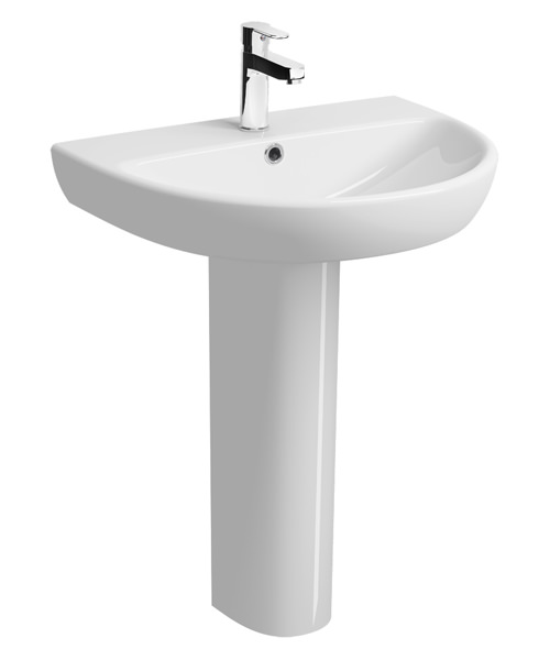 Twyford E100 650 x 500mm Round 1 Tap Hole Washbasin With Full Pedestal