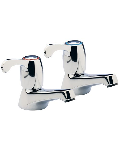 Tre Mercati Capri Lever Chrome Plated Pair Of Basin Taps With 3 Inch Lever