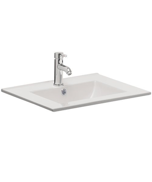 Bauhaus Design 500mm Inset Single Taphole Ceramic Basin With Overflow