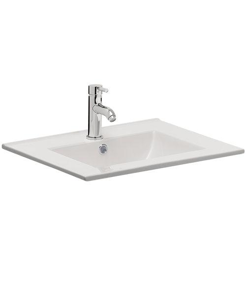 Bauhaus Design 700mm Inset Single Taphole Ceramic Basin With Overflow
