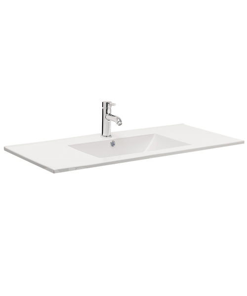 Bauhaus Design 1000mm Inset Single Taphole Ceramic Basin With Overflow