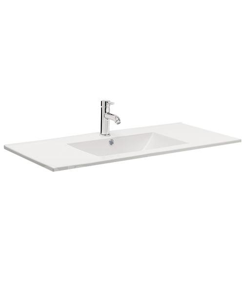Bauhaus Design 1000mm Inset Single Taphole Ceramic Basin With Overflow
