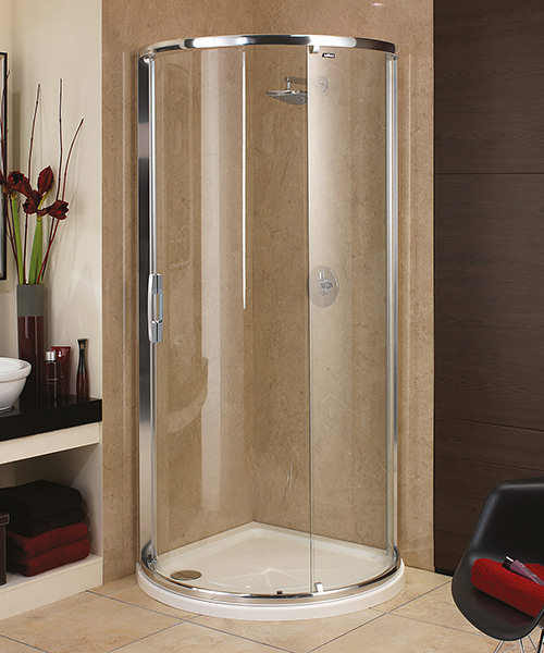 showerlux glide maxi single door quadrant enclosure with tray