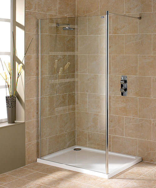 showerlux urban chic 700mm flat wetroom panel with wall