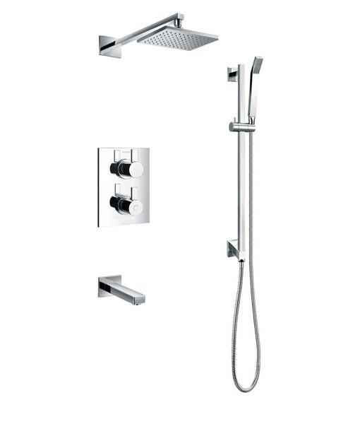 Flova Str8 Thermostatic Slide Rail Shower Set With Bath Spout