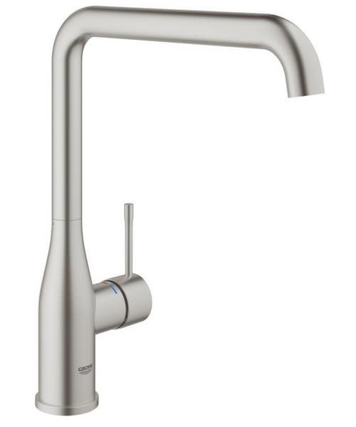 Grohe Essence Plus Single Lever L-Spout Kitchen Sink Mixer Tap Supersteel