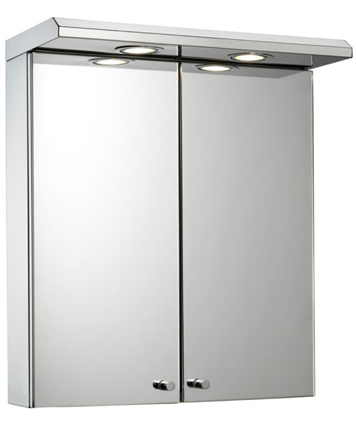 Croydex Shire Stainless Steel Double Door 450 x 530mm Illuminated Cabinet