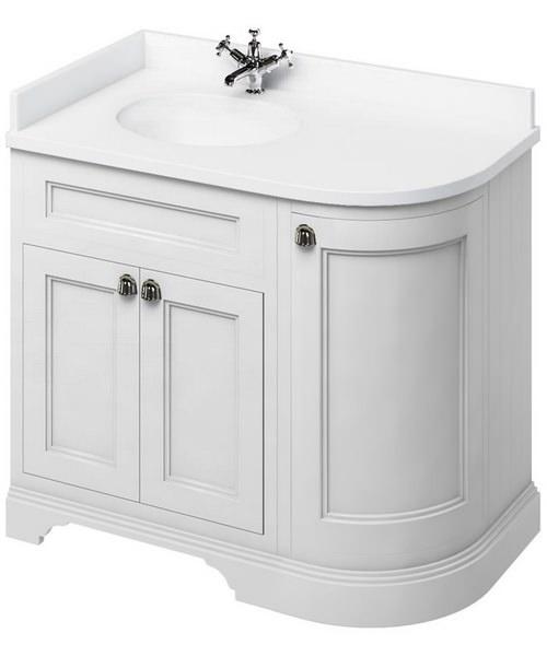 Burlington 1000mm Freestanding Left Hand Curved Corner Vanity Cabinet