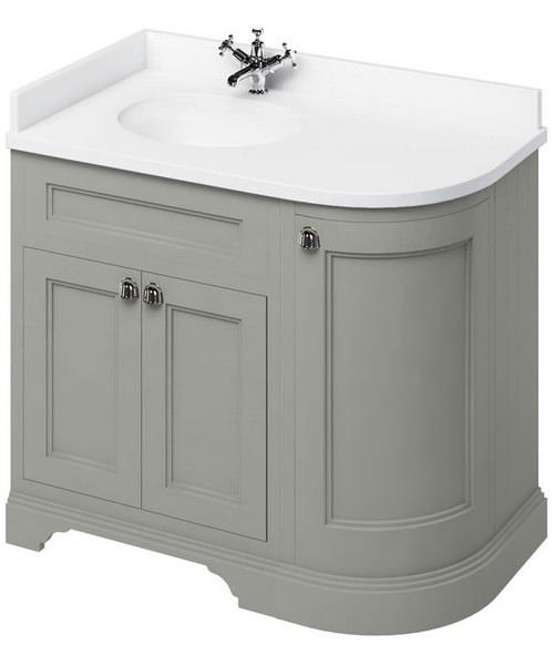 Additional image of Burlington 1000mm Freestanding Left Hand Curved Corner Vanity Cabinet