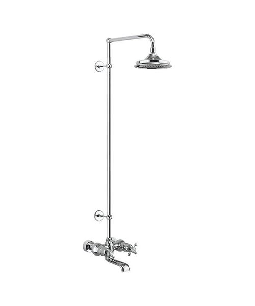 Burlington Tay Wall Mounted Thermostatic Bath Shower Mixer With Rigid Riser