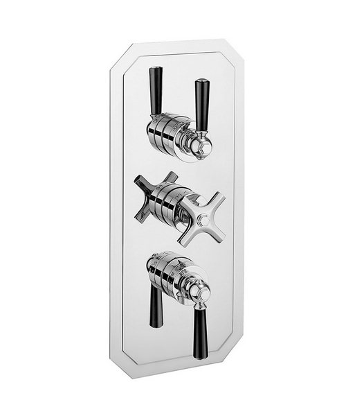Crosswater Waldorf Black Lever Portrait Thermostatic Valve With 3W Diverter