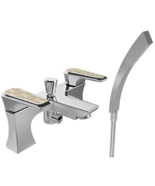Heritage Lymington Chrome Bath Shower Mixer Tap With Gold Inlay Handles