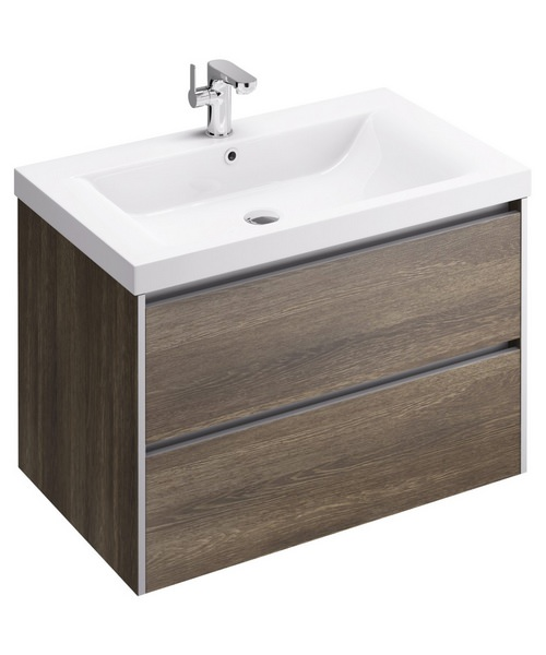 Pura Xcite 800mm Wall Hung Double Drawer Unit And Basin