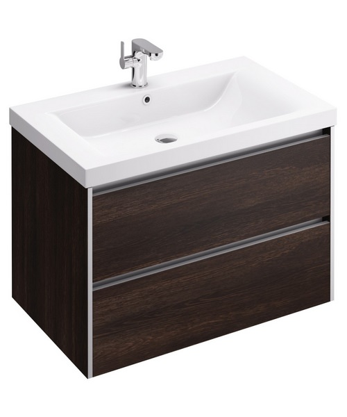 Additional image of Pura Xcite 800mm Wall Hung Double Drawer Unit And Basin