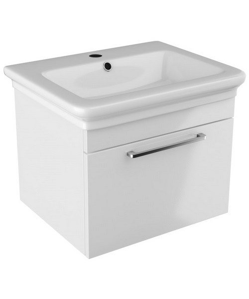 Pura Platto 600mm Wall Hung Single Drawer White Gloss Vanity Unit And Basin