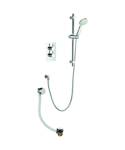 Pura Arco Twin Oultet Thermostatic Valve With Slide Rail Kit And Bath Filler
