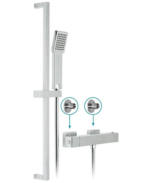 Vado Te Thermostatic Shower Valve With V2 Slide Rail Kit And Wall Brackets