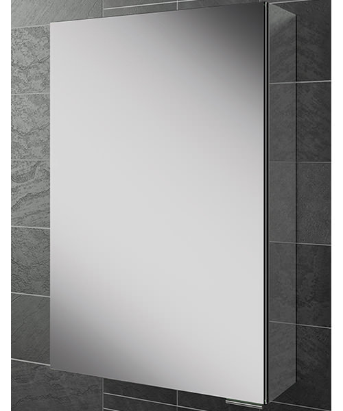 HIB Eris 40 Single Door Aluminium Cabinet With Mirrored Sides 400 x 600mm