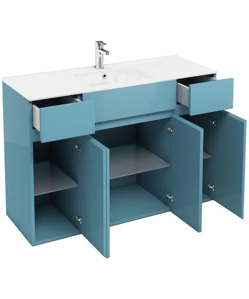Aqua cabinets d450 ocean 600mm vanity unit with 2 x 300mm for Kitchen cabinets 600mm