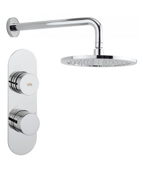Crosswater Dial Central Trim 1 Outlet Thermostatic Shower Valve With Shower Head And Shower Arm