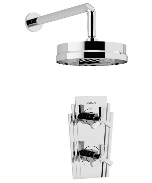 Heritage Gracechurch Recessed Traditional Thermostatic Shower Valve Chrome With Fixed Head Kit