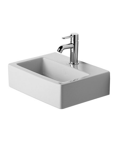 Duravit Vero White 450 x 350mm 1 Tap Hole Handrise Washbasin Med