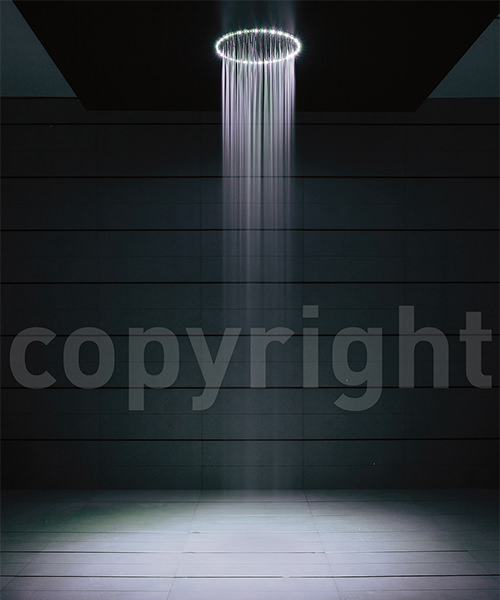 Crosswater Rio 240mm Round Shower Head With White LED Lights And Ceiling Arm