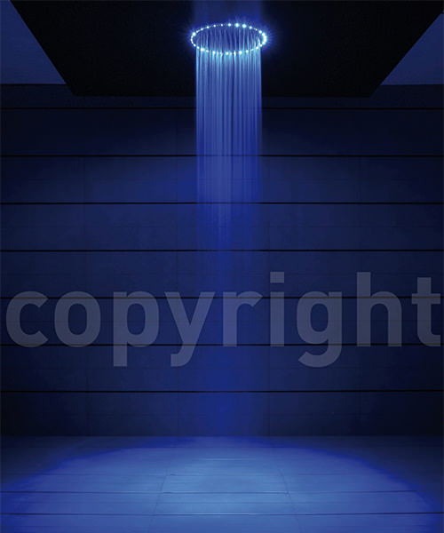 Crosswater Rio 240mm Round Shower Head With Blue LED Lights And Ceiling Arm