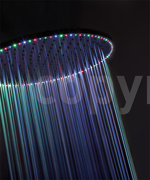 Crosswater Rio Spectrum 400mm Round Shower Head With Lights And Ceiling Arm