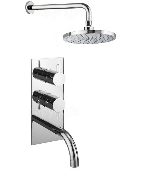 Crosswater Kai Lever Thermostatic Wall Shower Valve With Spout And Head