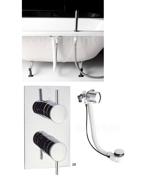 Crosswater Kai Thermostatic Valve With Deck Handset And Bath Pop-Up Waste